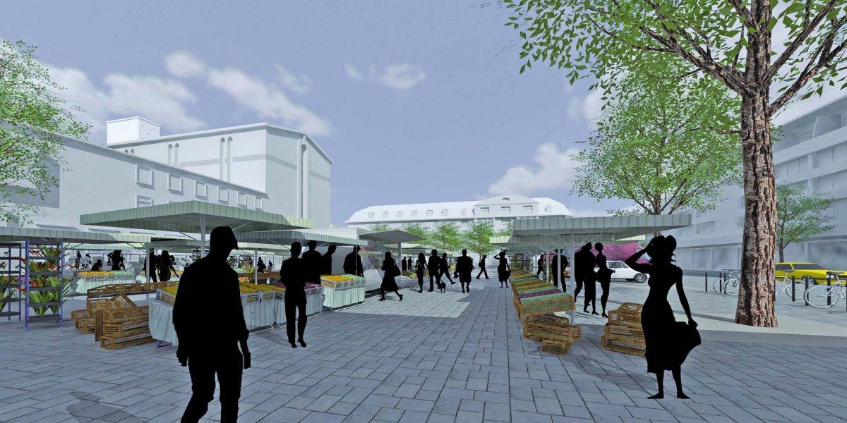 Marktnutzung – Fontainenfeld befahrbar und für Veranstaltungen abzudecken