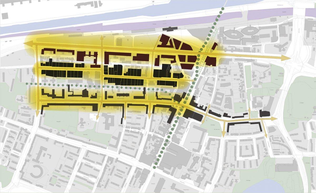 Baustruktur-Achsen: Profilierung Straßenzüge / Konzentration Nutzungen