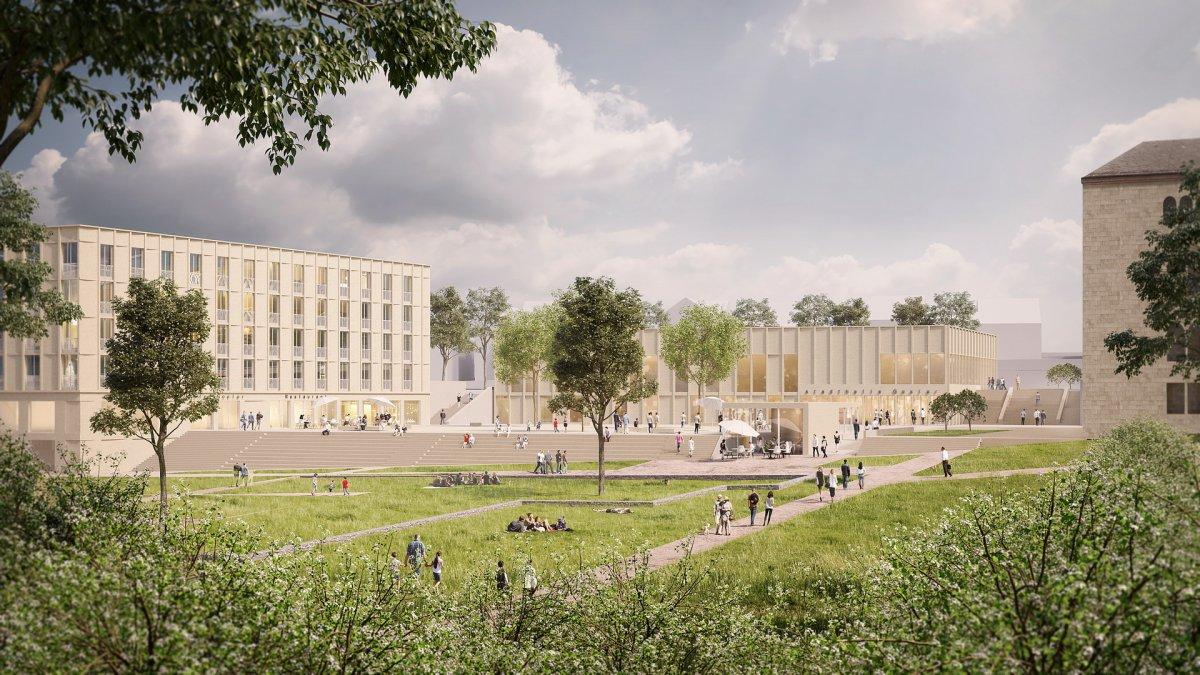 Visualisierung von der Kaiserpfalz (Bez + Kock Architekten, Stuttgart)