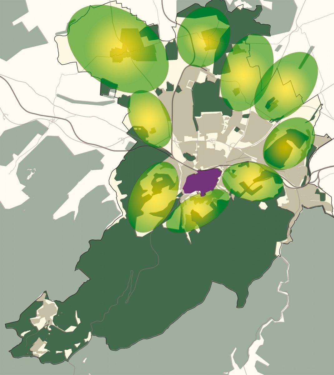 Schützenswerte Landschafts- und Erholungsräume um die Kernstadt