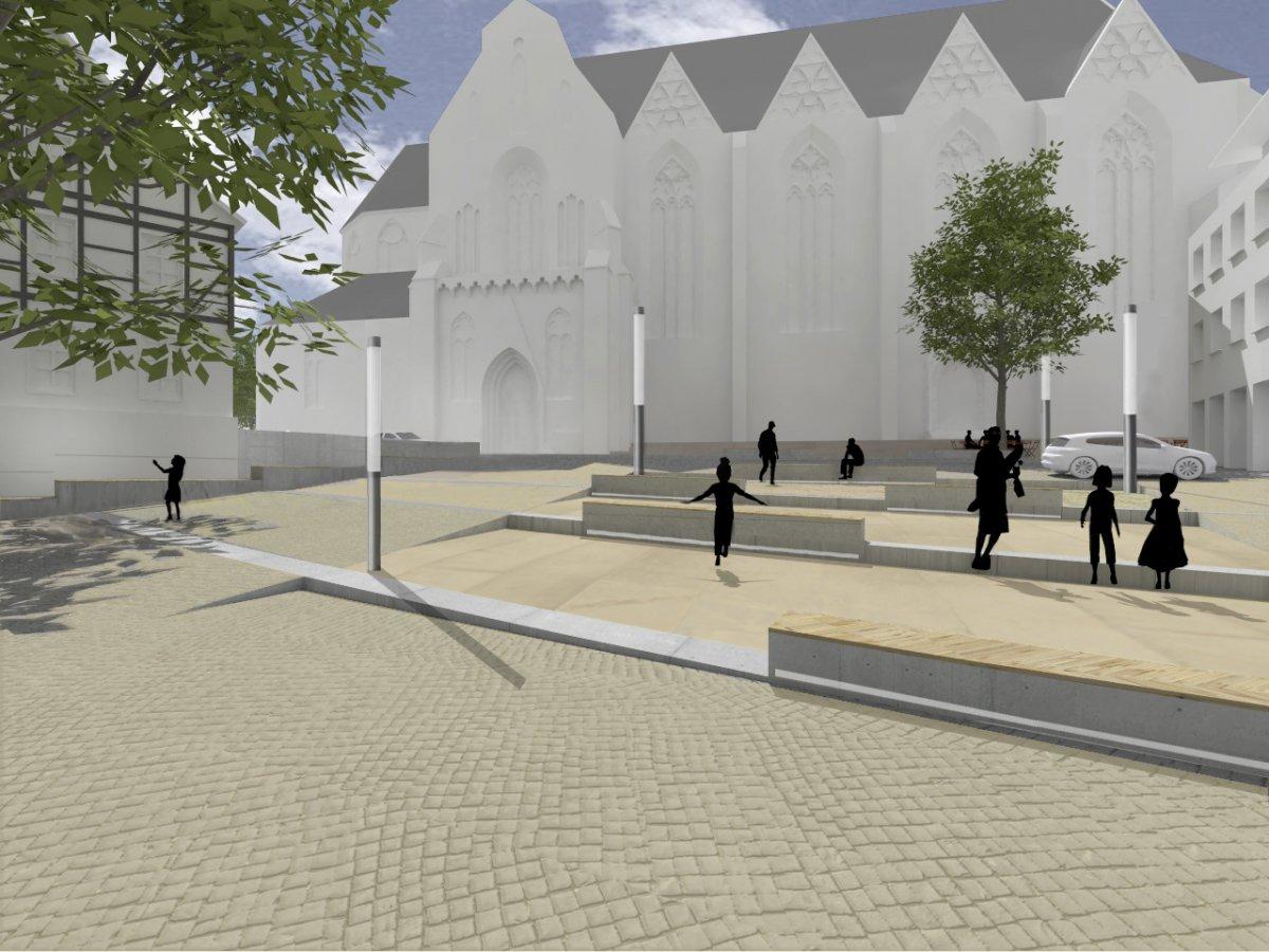 Ägidienkirchplatz, Blick in Richtung Kirche