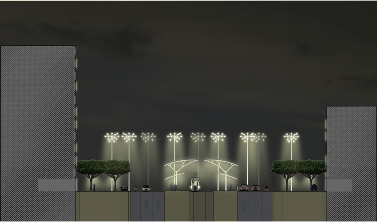 Barbarossaplatz bei Nacht