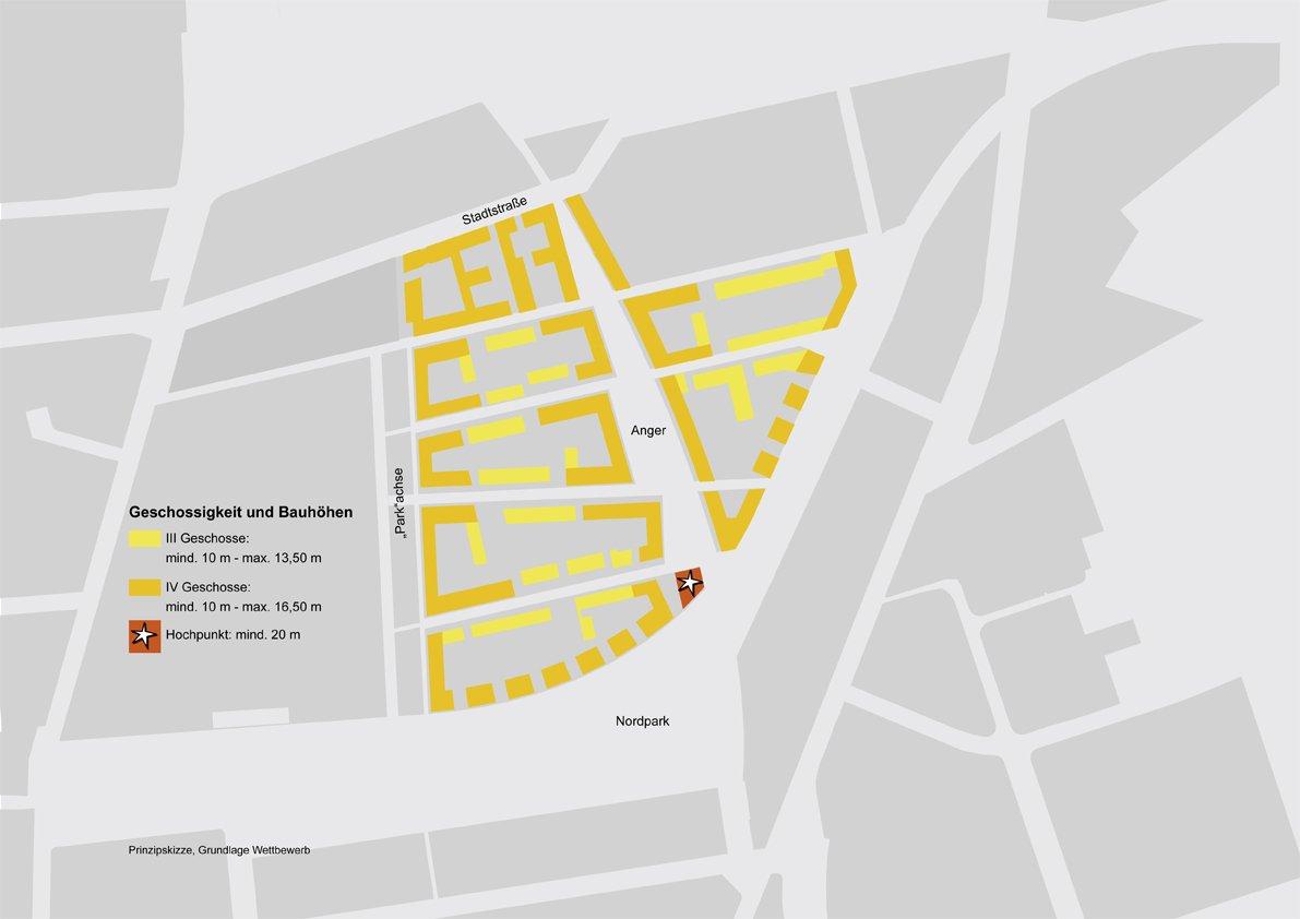 Verteilung der Geschossigkeit und der Bauhöhen im Baugebiet