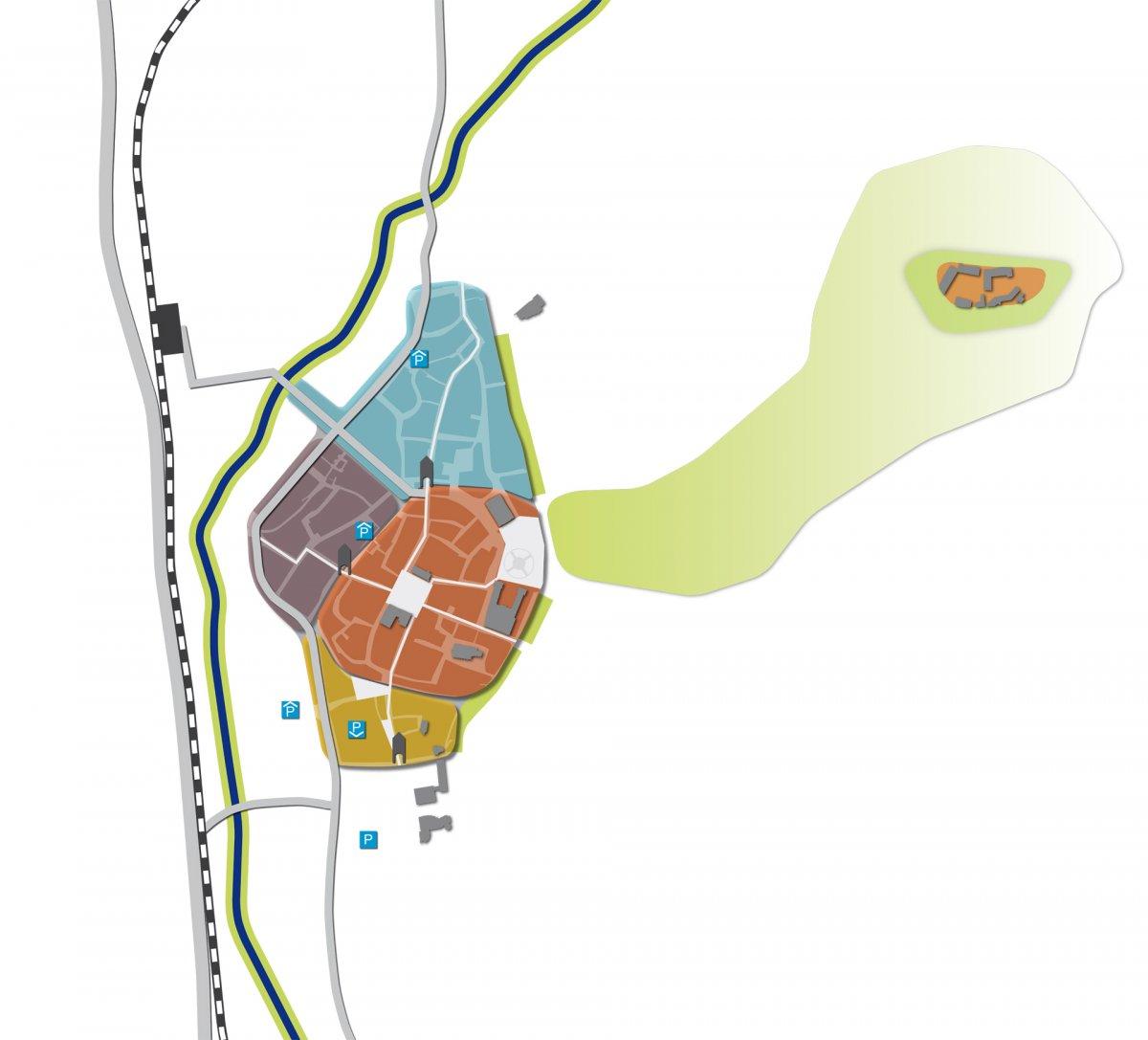 Grundriss der Innenstadt mit Darstellung der Quartiere