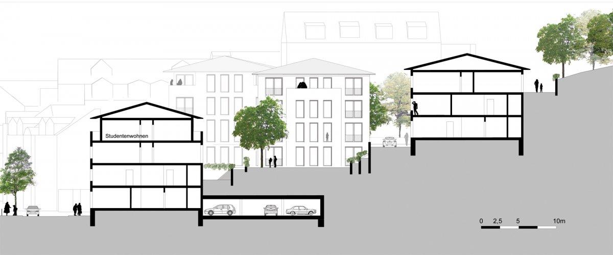 Stadtvillen und Terrassenhäuser (Schnitt A-A)