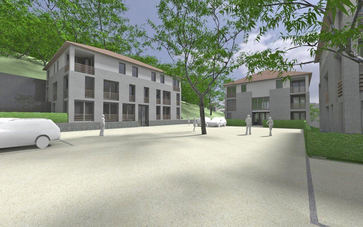 Blick auf den zentralen Quartiersplatz