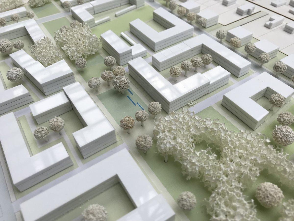 Modellfoto Gesamtkonzept, Ausschnitt Quartiersplatz