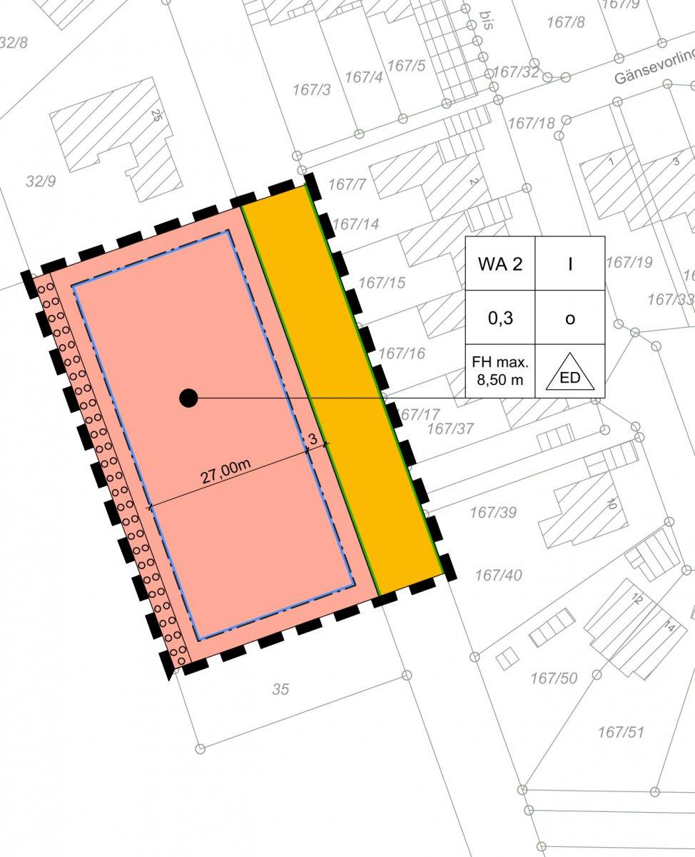 Planzeichnung zum Bebauungsplan Geltungsbereich B