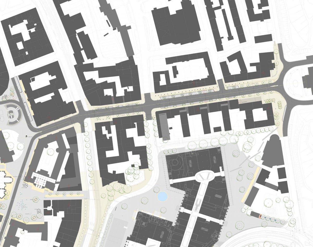 Umgestaltung Umfeld Schlossarkaden: Münzstraße, Platz der Deutschen Einheit, Langer Hof, Steinweg, Dankwardstraße