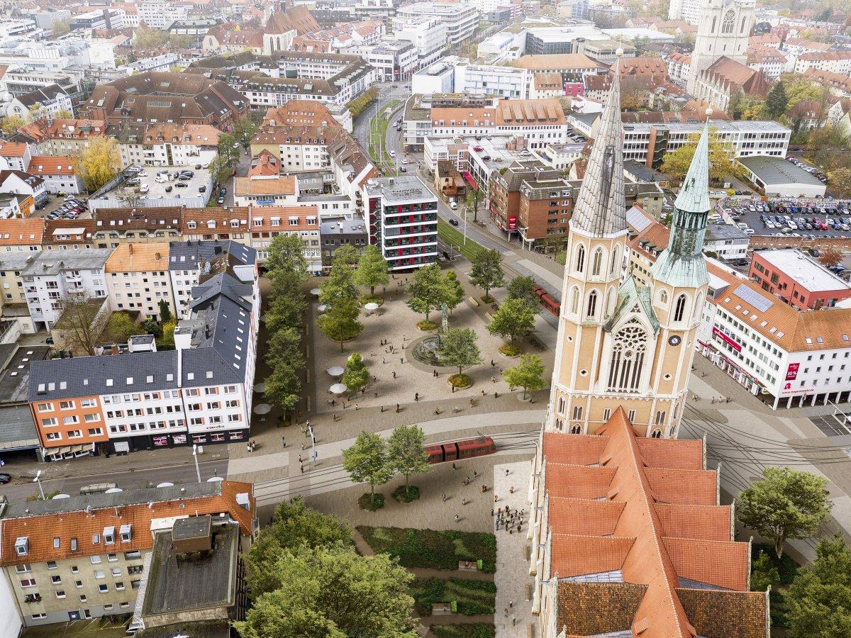 Vogelperspektive mit Blick auf den Marktplatz
