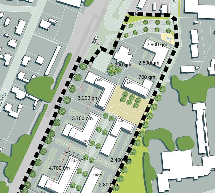 Weiterentwicklung städtebauliches Konzept: Ausschnitt Quartiersplatz