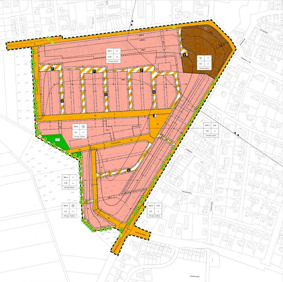 Planzeichnung zum Bebauungsplan
