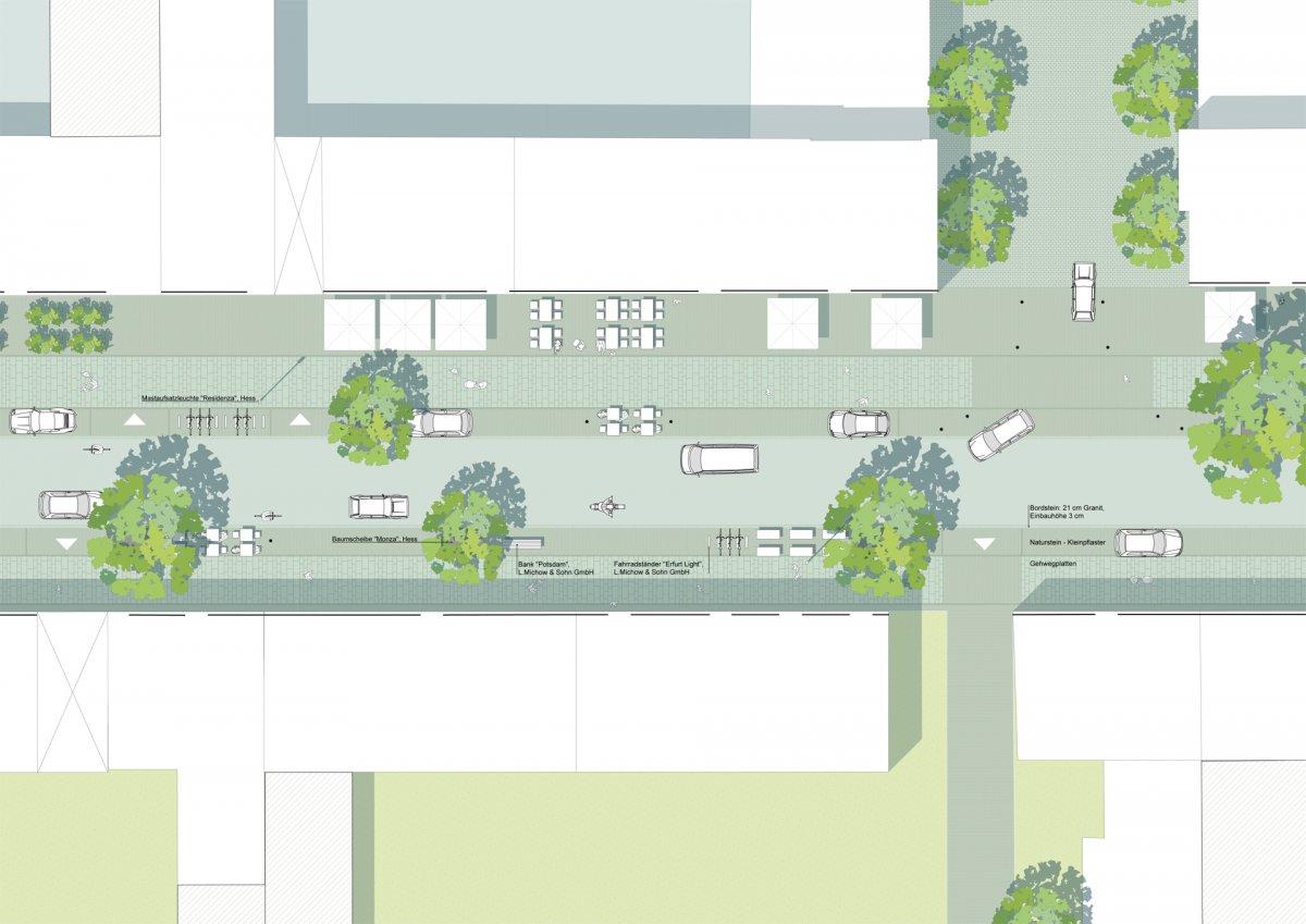 Flexibel nutzbarer Funktionsstreifen zwischen Gehweg und Fahrbahn